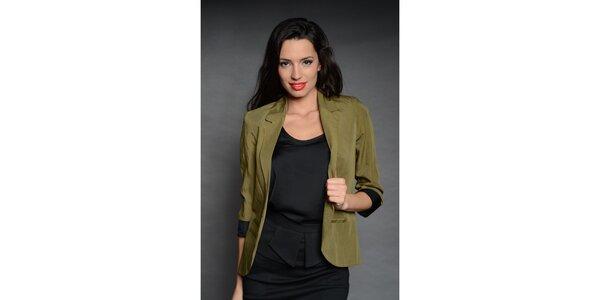 Dámske zelené sako Simonette s čiernou manžetou