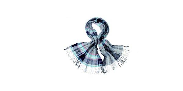 Dámska šedo-modrá kockovaná šatka Fraas
