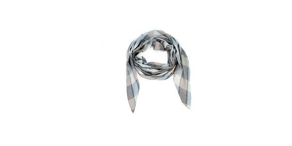 Dámska krémovo-béžová kockovaná šatka Fraas