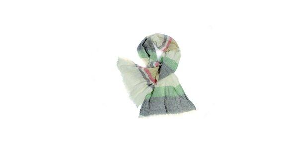 Dámska krémovo-zeľaná pruhovaná fáčovinová šatka Fraas