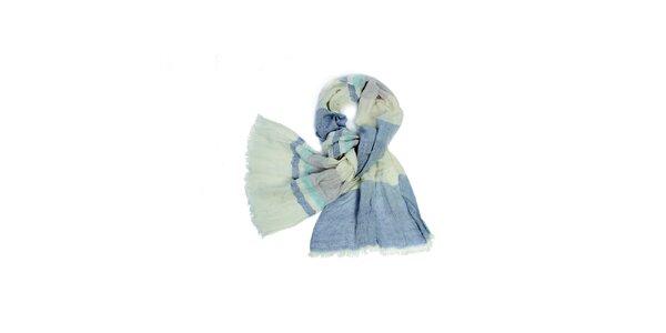 Dámska krémovo-modrá pruhovaná fáčovinová šatka Fraas