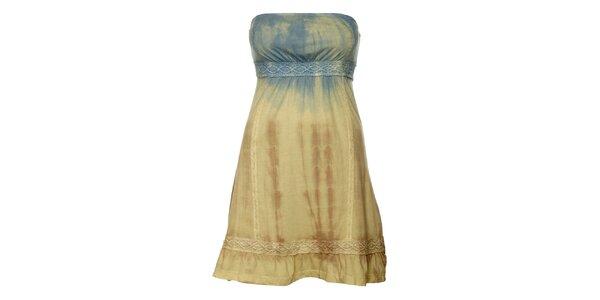 Dámske béžovo-modré batikované šaty Guess