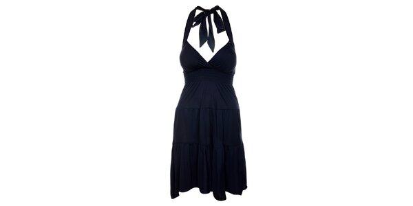 Dámske atramentovo modré šaty Guess s volánovou sukňou