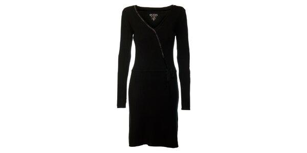 Dámske čierne šaty s dlhými rukávmi Guess