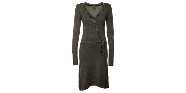 Dámske tmavo šedé šaty s dlhými rukávmi Guess