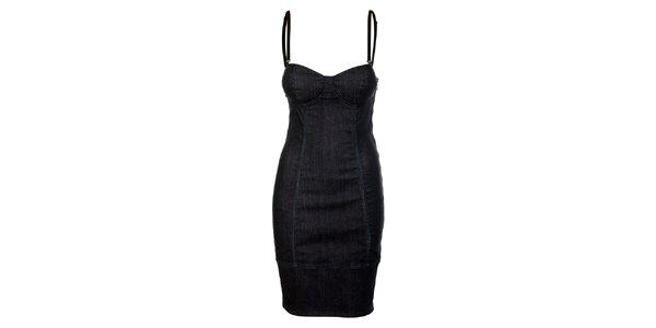 Dámske temno modré denimové šaty Guess