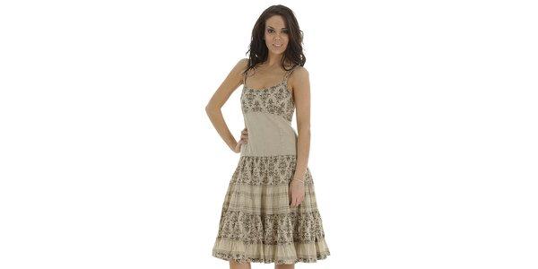 Dámske béžové šaty s volánmi a potlačou Peace & Love