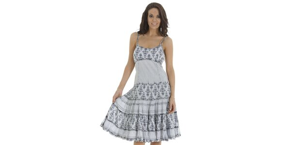 Dámske svetlé šaty s volánmi a potlačou Peace & Love