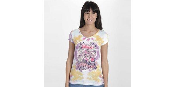 Dámske vzorované tričko s potlačou Peace&Love
