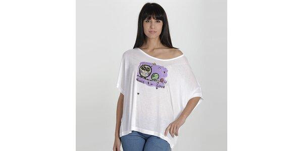Dámske biele tričko so sovičkami Peace & Love