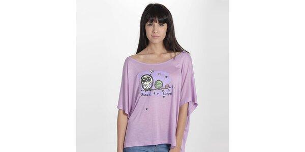 Dámske fialové tričko so sovičkami Peace & Love