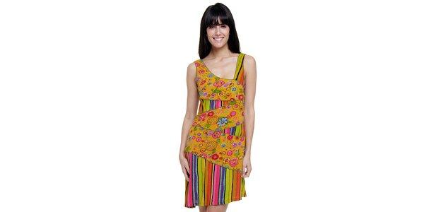 Dámske farebné pruhované šaty Peace&Love s horčicovou kvetinovou légou