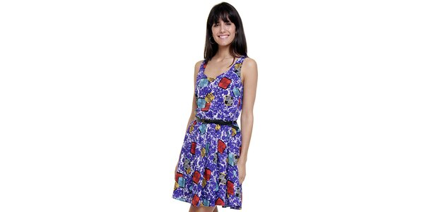 Dámske fialové šaty Peace&Love s potlačou