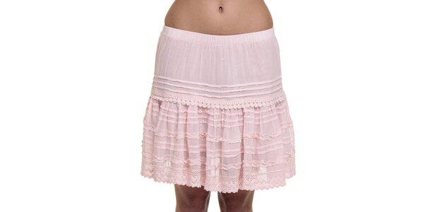 Dámska ružová čipkovaná sukňa Peace&Love