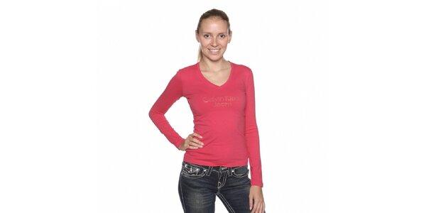 Dámske ružové tričko Calvin Klein s kamienkami