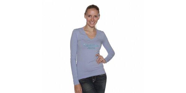 Dámske svetlo modré tričko Calvin Klein s kamienkami