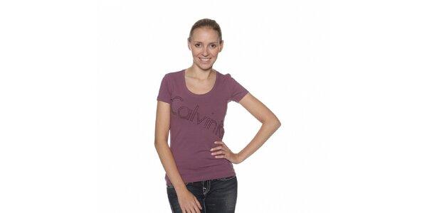 Dámske fialové tričko Calvin Klein s kamienkami