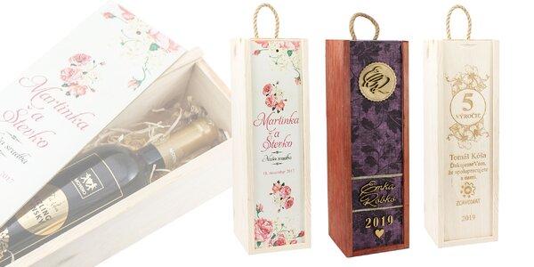 Personalizovaný drevený box na víno alebo alkohol