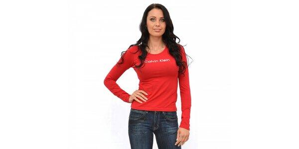 Dámske červené tričko Calvin Klein s dlhým rukávom
