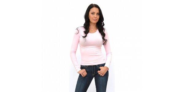Dámske svetlo ružové tričko Calvin Klein s dlhým rukávom