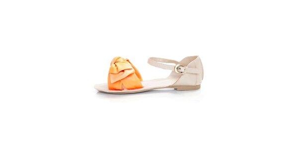 Dámske svetlo béžové kožené sandále Sandalo s oranžovými pásikmi