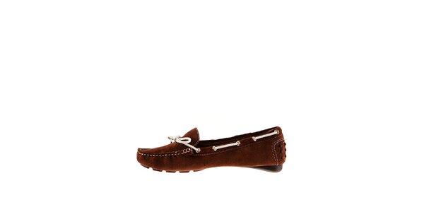 Dámske hnedé semišové mokasíny Sandalo