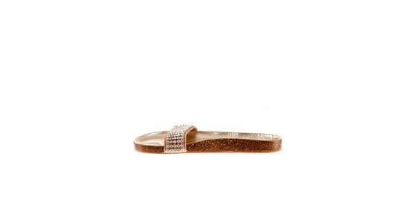 Dámske ružové kožené šľapky Sandalo s kamienkami