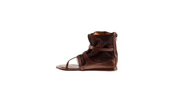 Dámske hnedé kožené sandále Sandalo