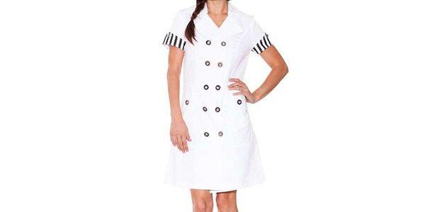 Dámske biele šaty Sandalo s čiernymi detailmi