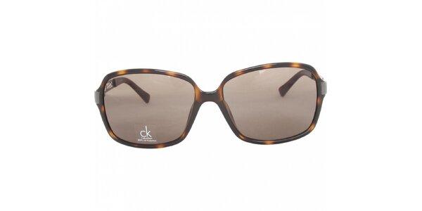 Dámske tmavo hnedé žíhané brýle Calvin Klein s kovovými stranicami