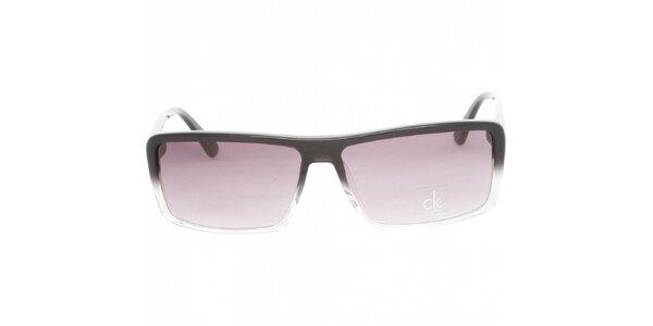 Dámske černo-biele slnečné okuliare Calvin Klein s fialovými sklami