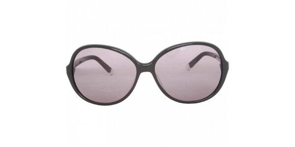 Dámske čierne slnečné okuliare Calvin Klein s fialovými sklami