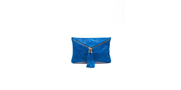 Dámska žiarivo modrá hadia kabelka Roberta Minelli so strapcami