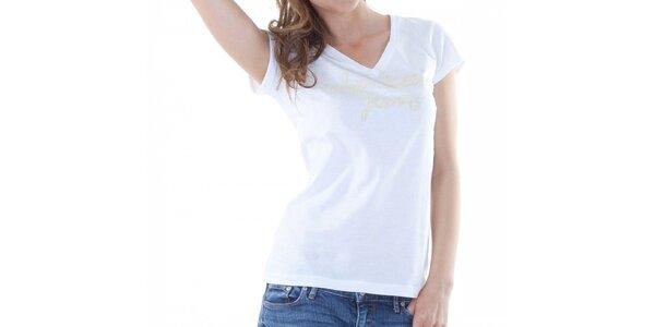 Dámske biele tričko Calvin Klein s potlačou