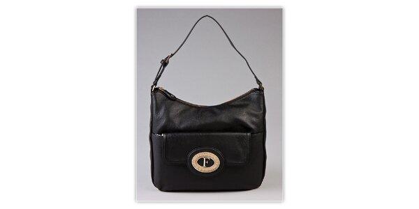 Dámska čierna kabelka s kovovým monogramom Ferré Milano