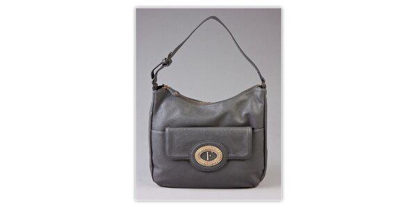 Dámska šedá kabelka s kovovým monogramom Ferré Milano