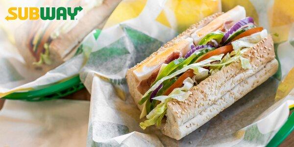 SUBWAY® Sub sendvič 15 cm podľa výberu s nápojom a cookie