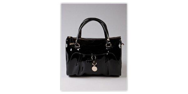Dámska čierna lakovaná kabelka s odnímatelným popruhom Ferré Milano