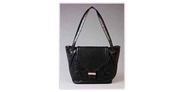 Dámska čierna kabelka Ferré Milano s kroko motívom