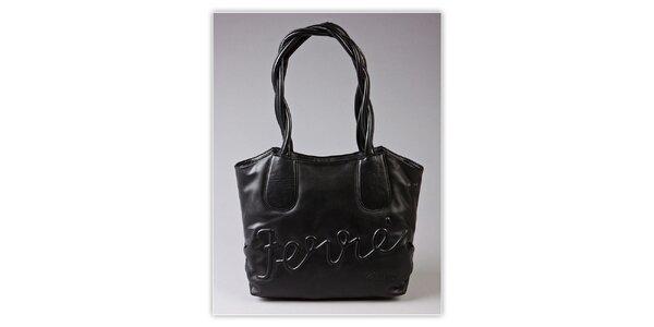 Dámska čierna kabelka Ferré Milano s reliéfným logom