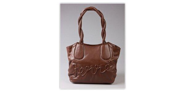 Dámska hnedá kabelka Ferré Milano s reliéfným logom