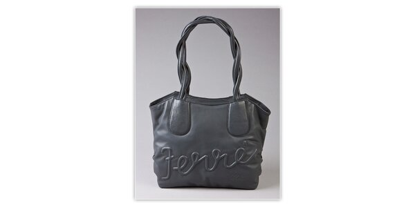 Dámska šedá kabelka Ferré Milano s reliéfným logom