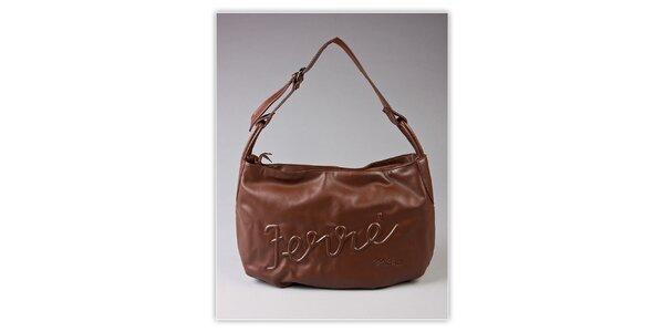 Dámska hnedá hobo kabelka Ferré Milano s reliéfným logom