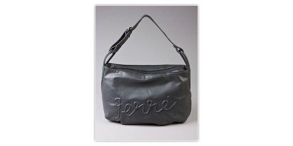Dámska šedá hobo kabelka Ferré Milano s reliéfným logom