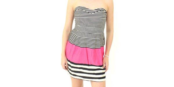 Dámske čierno-biele pruhované šaty s ružovým pruhom Smashed Lemon
