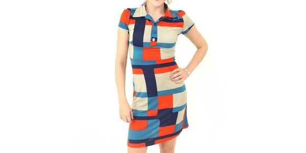 Dámske farebné šaty Smashed Lemon s kubistickým vzorom