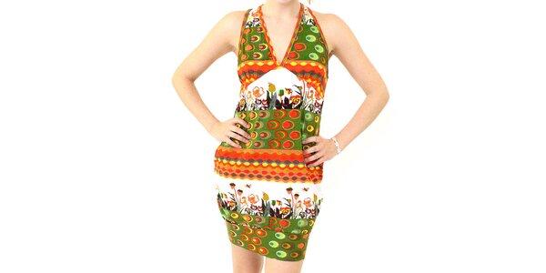 Dámske zeleno-oranžové šaty s potlačou Smashed Lemon