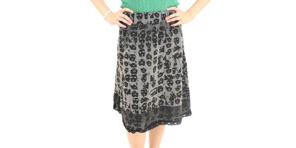 Dámske zeleno-šedá sukňa s potlačou masiek Smashed Lemon