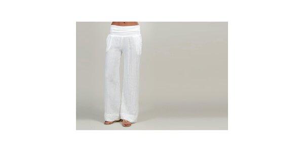 Dámske biele ľanové nohavice Lin Nature