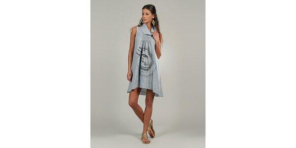 Dámske šedé ľanové šaty s potlačou Lin Nature